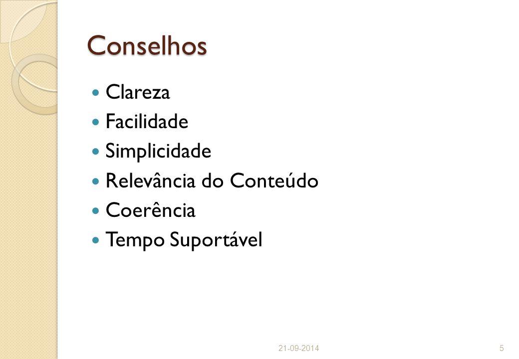 Conselhos Clareza Facilidade Simplicidade Relevância do Conteúdo