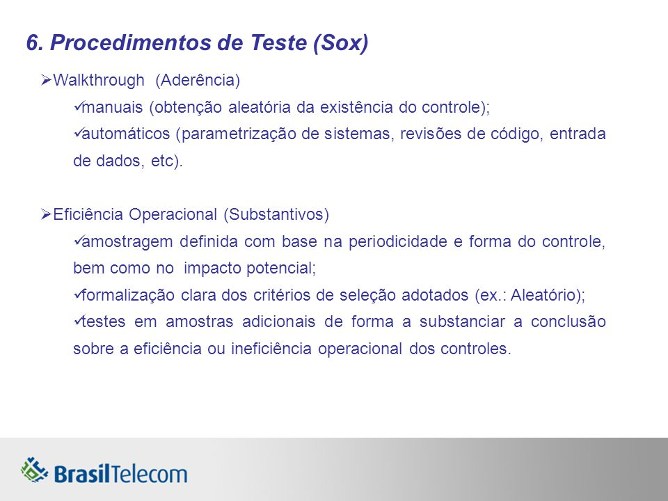 6. Procedimentos de Teste (Sox)