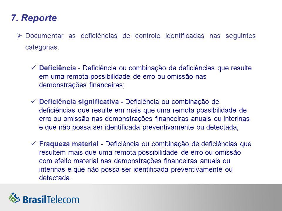 7. Reporte Documentar as deficiências de controle identificadas nas seguintes categorias: