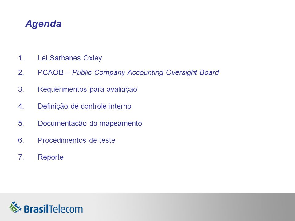 Agenda Lei Sarbanes Oxley