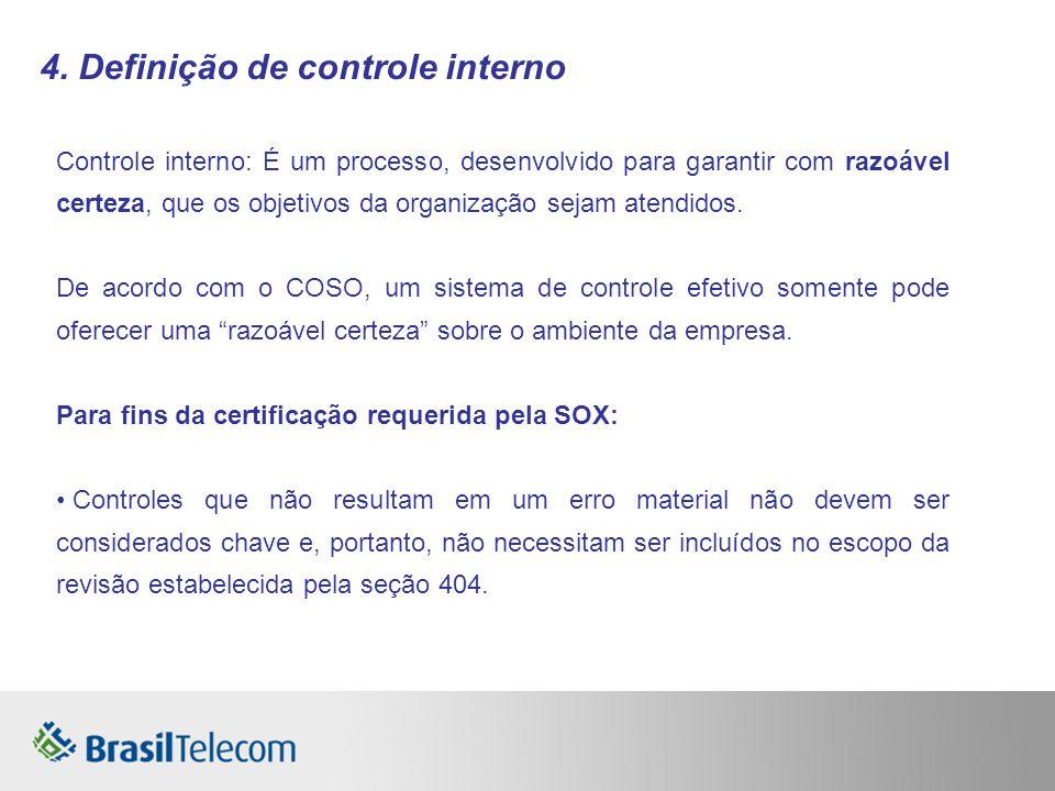 4. Definição de controle interno