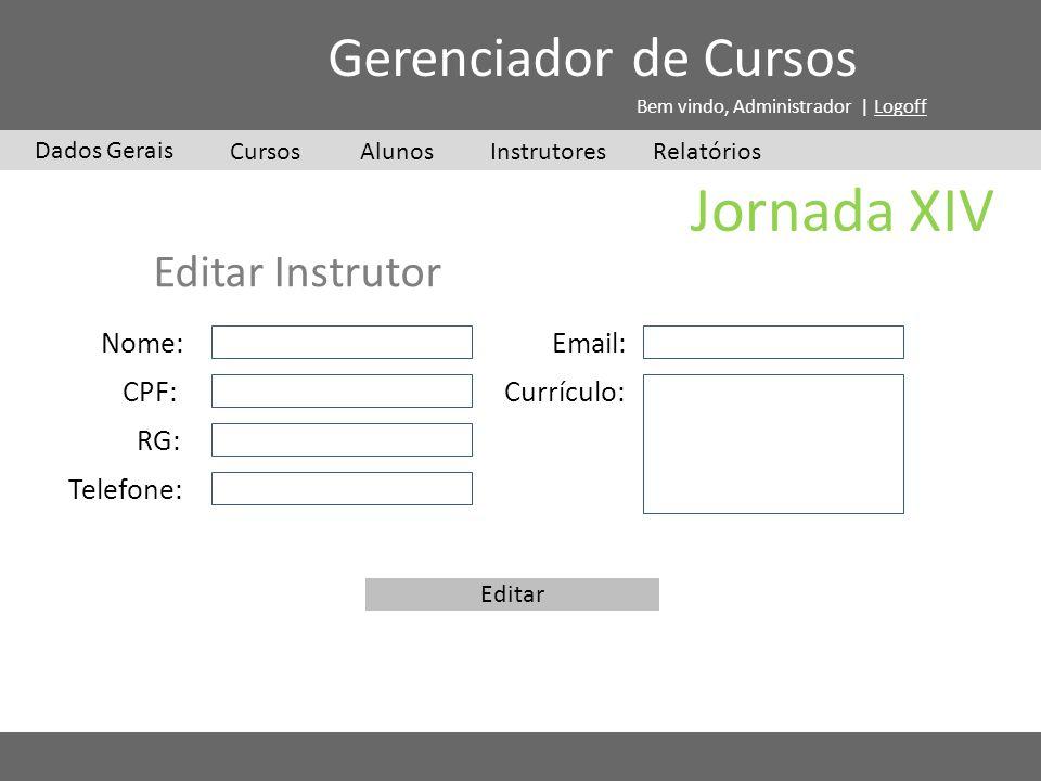 Jornada XIV Gerenciador de Cursos Editar Instrutor Nome: Email: CPF: