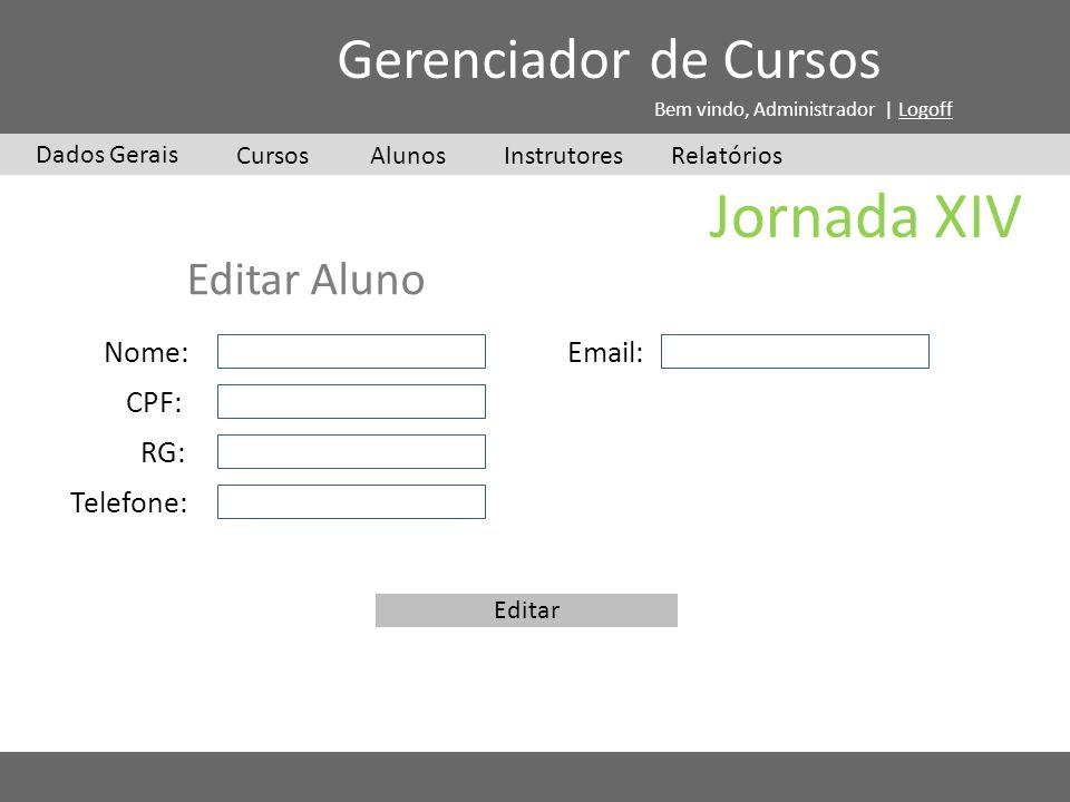 Jornada XIV Gerenciador de Cursos Editar Aluno Nome: Email: CPF: RG: