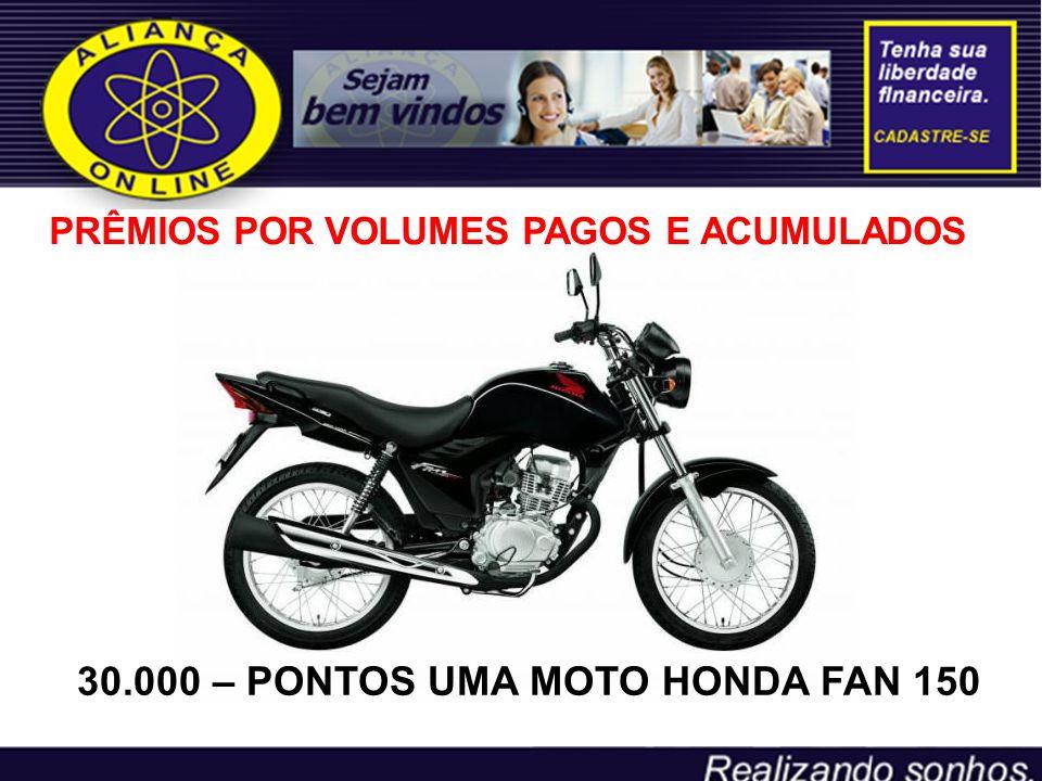 30.000 – PONTOS UMA MOTO HONDA FAN 150