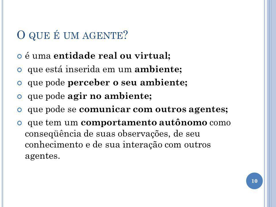 O que é um agente é uma entidade real ou virtual;