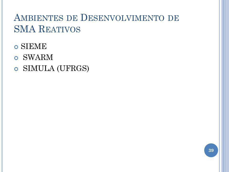 Ambientes de Desenvolvimento de SMA Reativos