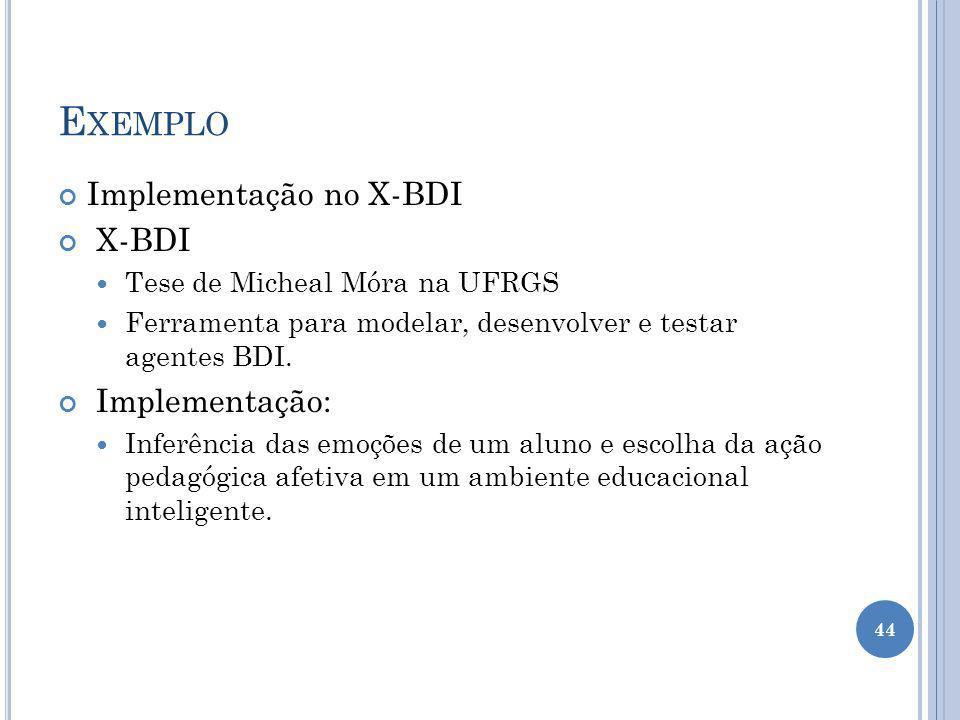Exemplo Implementação no X-BDI X-BDI Implementação: