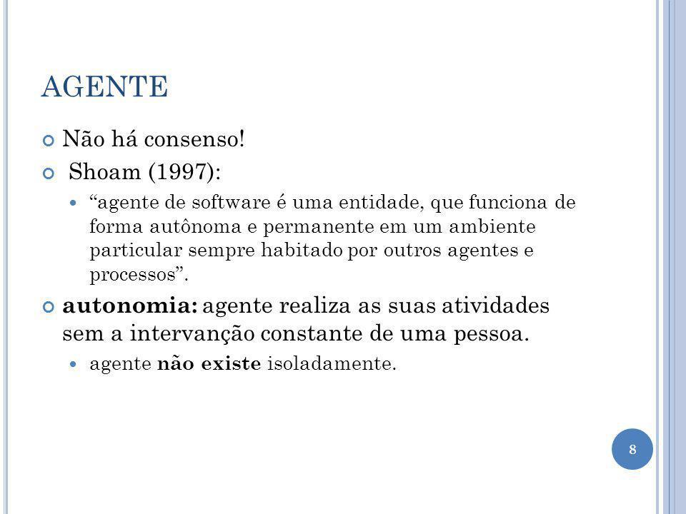 AGENTE Não há consenso! Shoam (1997):
