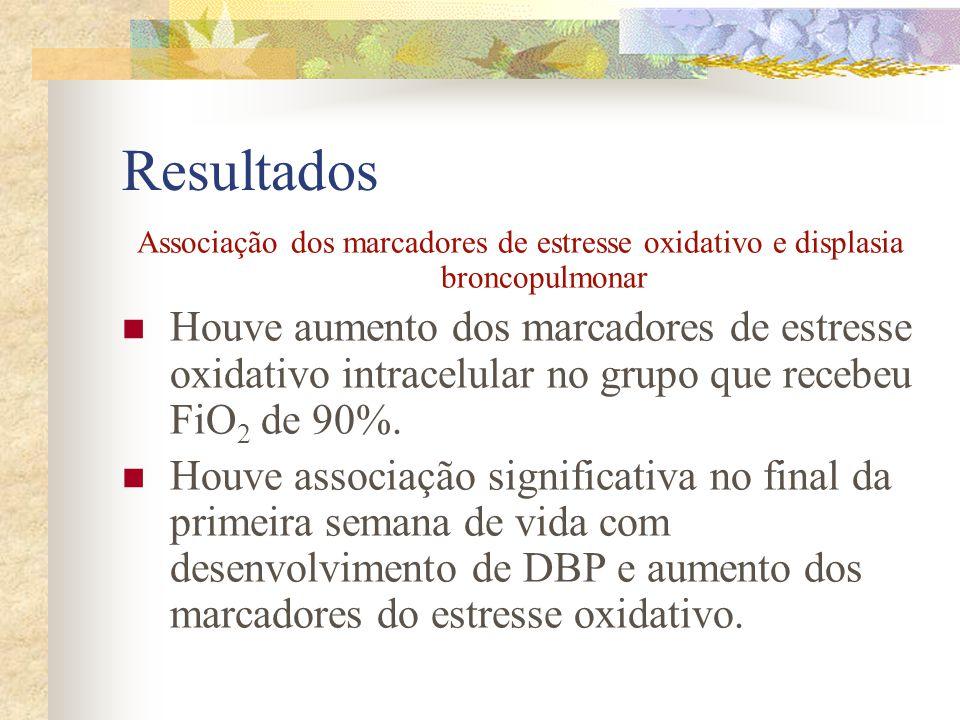 Resultados Associação dos marcadores de estresse oxidativo e displasia broncopulmonar.