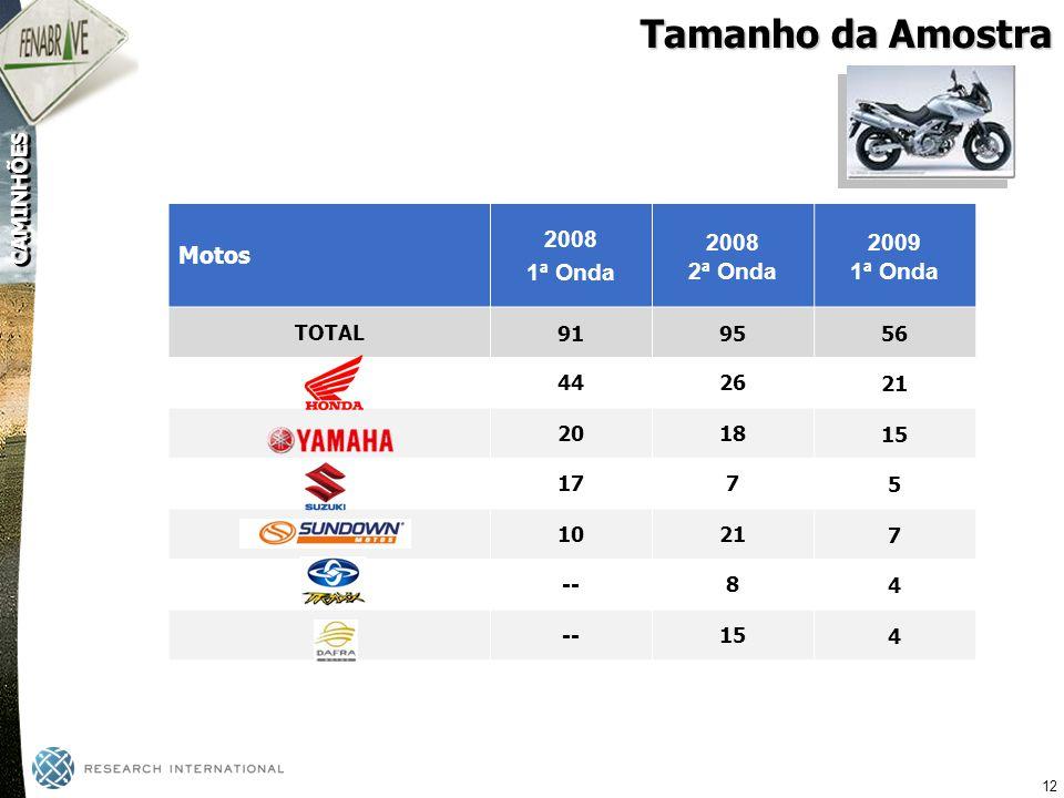 Tamanho da Amostra 2009 2008 Motos 1ª Onda 2ª Onda TOTAL 91 95 56 44