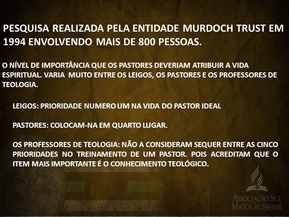 PESQUISA REALIZADA PELA ENTIDADE MURDOCH TRUST EM 1994 ENVOLVENDO MAIS DE 800 PESSOAS.