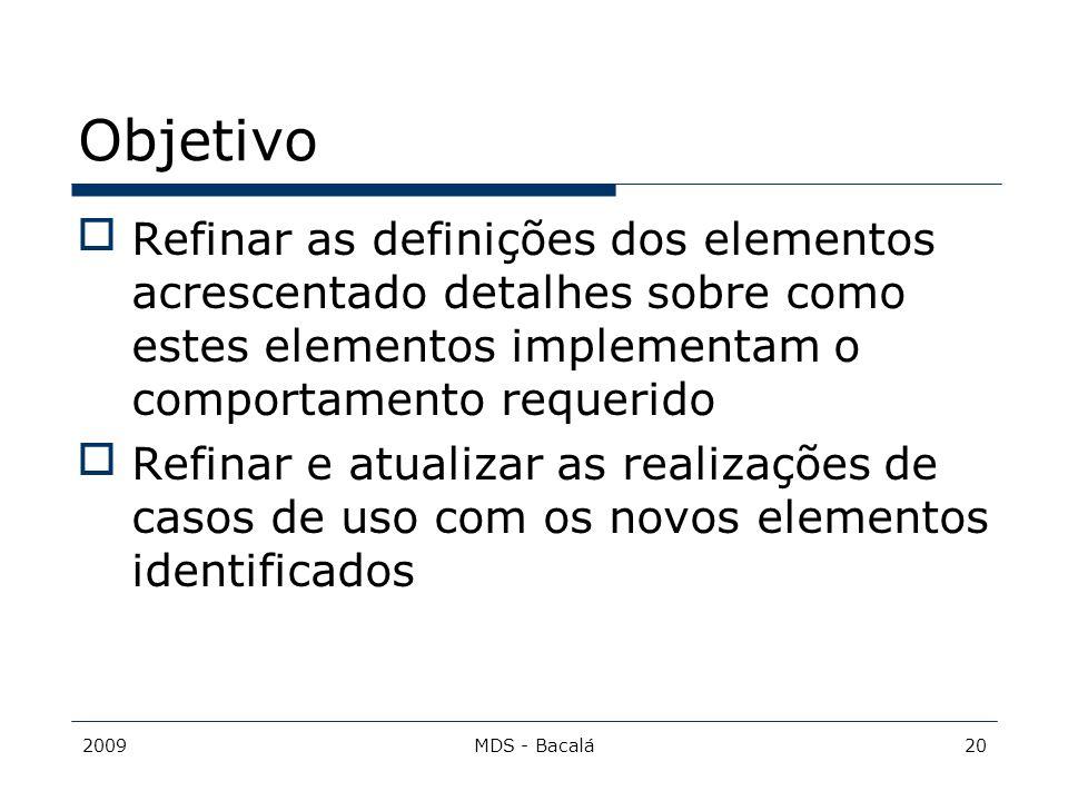 Objetivo Refinar as definições dos elementos acrescentado detalhes sobre como estes elementos implementam o comportamento requerido.