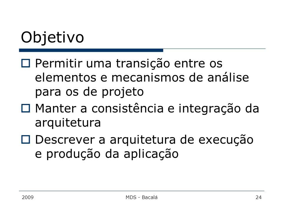 Objetivo Permitir uma transição entre os elementos e mecanismos de análise para os de projeto. Manter a consistência e integração da arquitetura.