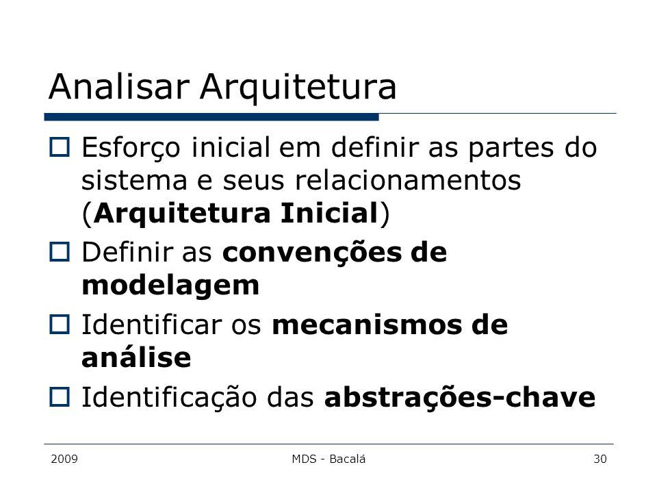 Analisar Arquitetura Esforço inicial em definir as partes do sistema e seus relacionamentos (Arquitetura Inicial)