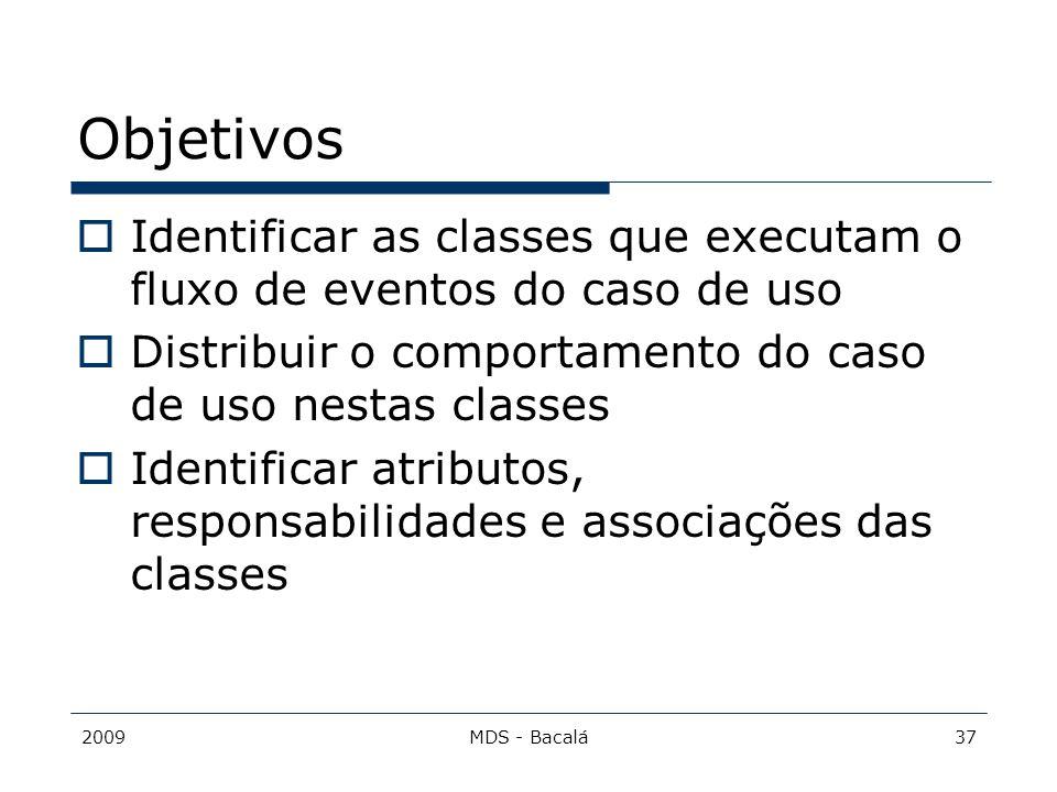 Objetivos Identificar as classes que executam o fluxo de eventos do caso de uso. Distribuir o comportamento do caso de uso nestas classes.