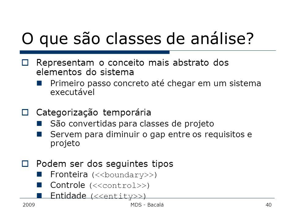 O que são classes de análise
