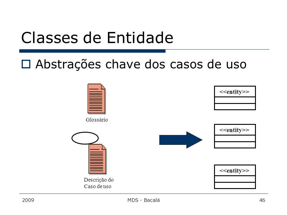 Classes de Entidade Abstrações chave dos casos de uso
