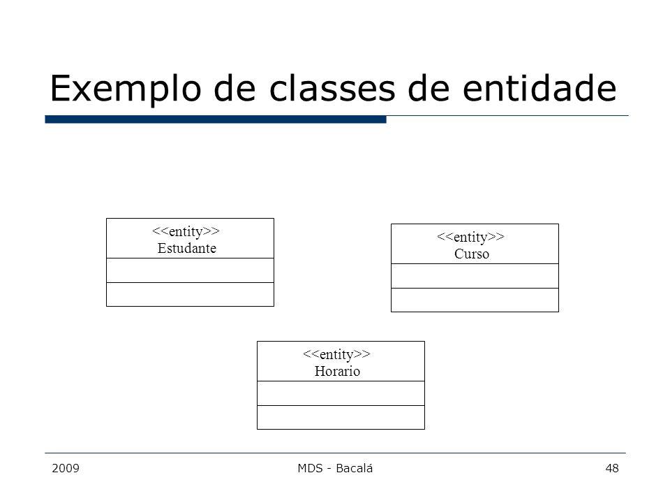 Exemplo de classes de entidade