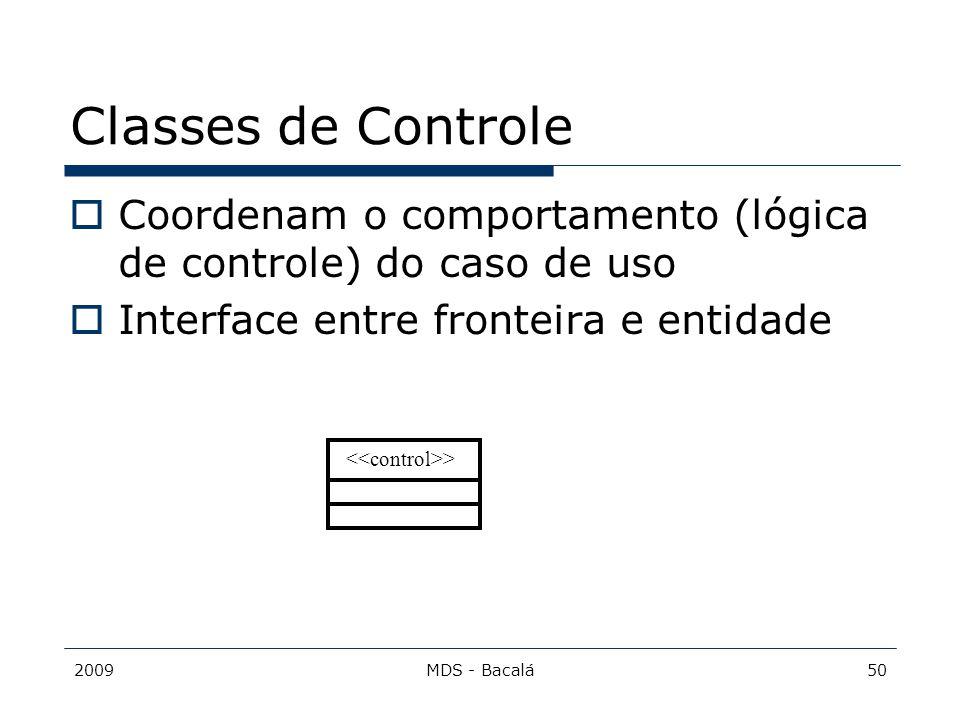 Classes de Controle Coordenam o comportamento (lógica de controle) do caso de uso. Interface entre fronteira e entidade.