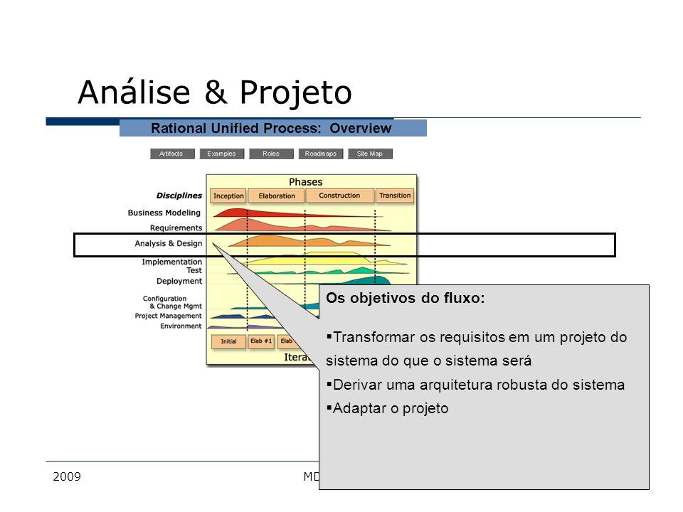 Análise & Projeto Os objetivos do fluxo:
