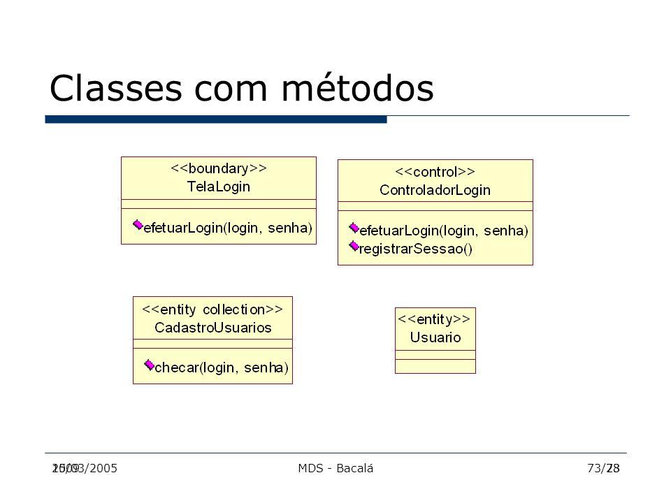 Classes com métodos 2009 15/03/2005 MDS - Bacalá 73/28 73