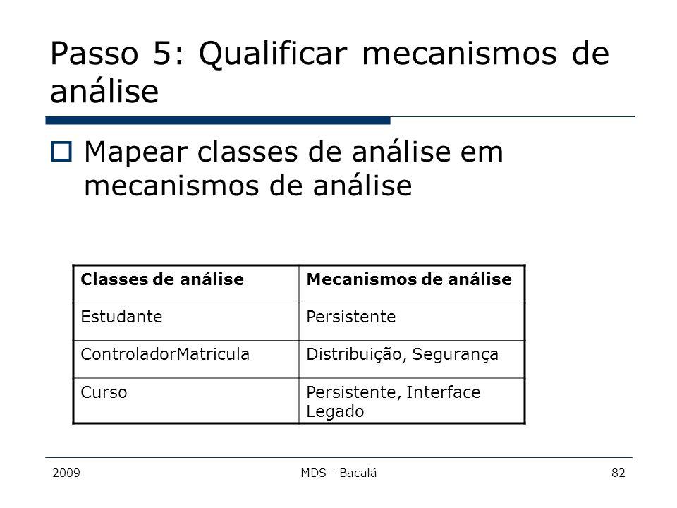Passo 5: Qualificar mecanismos de análise