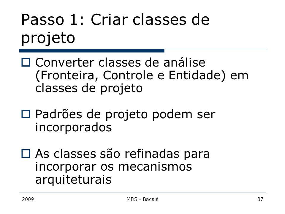 Passo 1: Criar classes de projeto