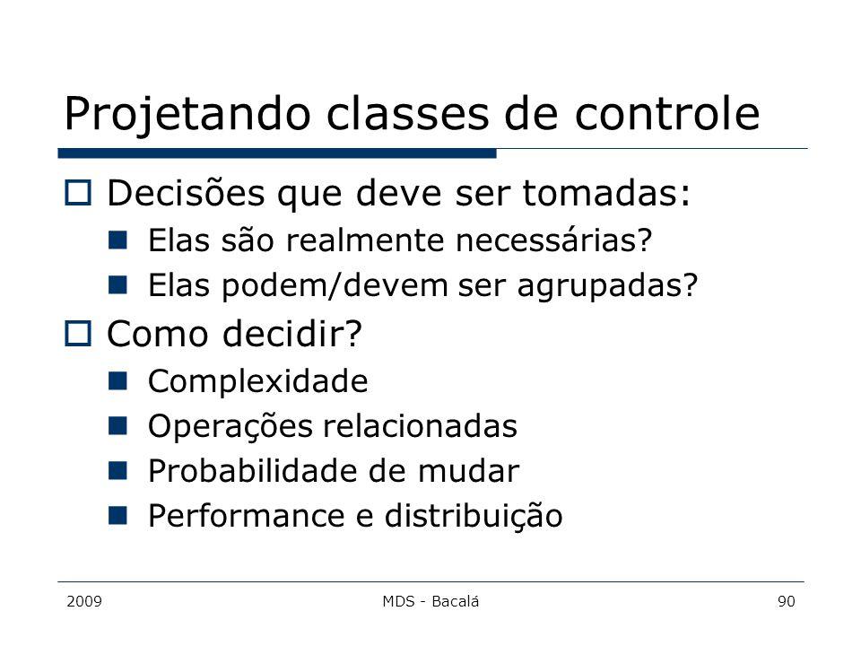 Projetando classes de controle