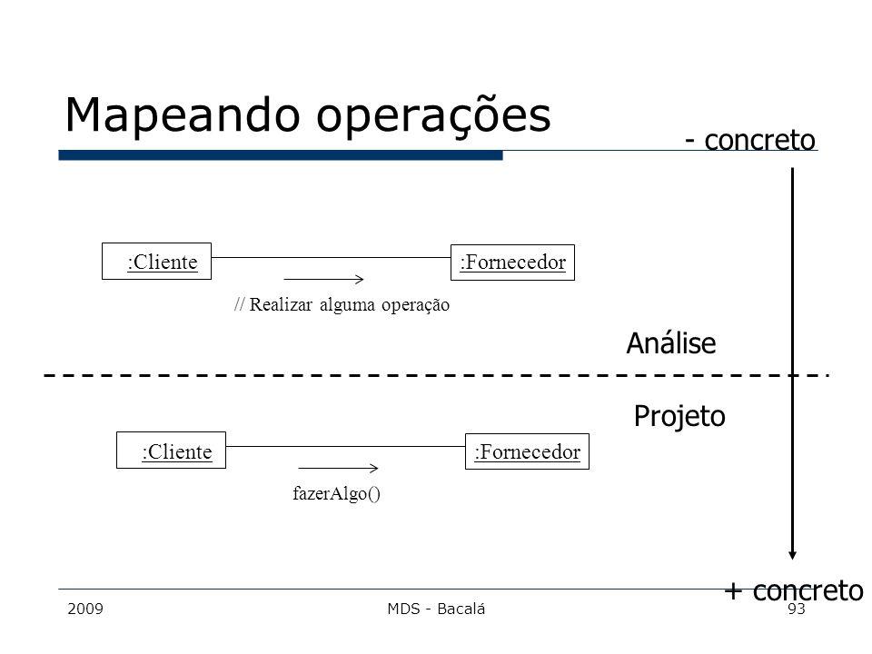 Mapeando operações - concreto Análise Projeto + concreto :Cliente