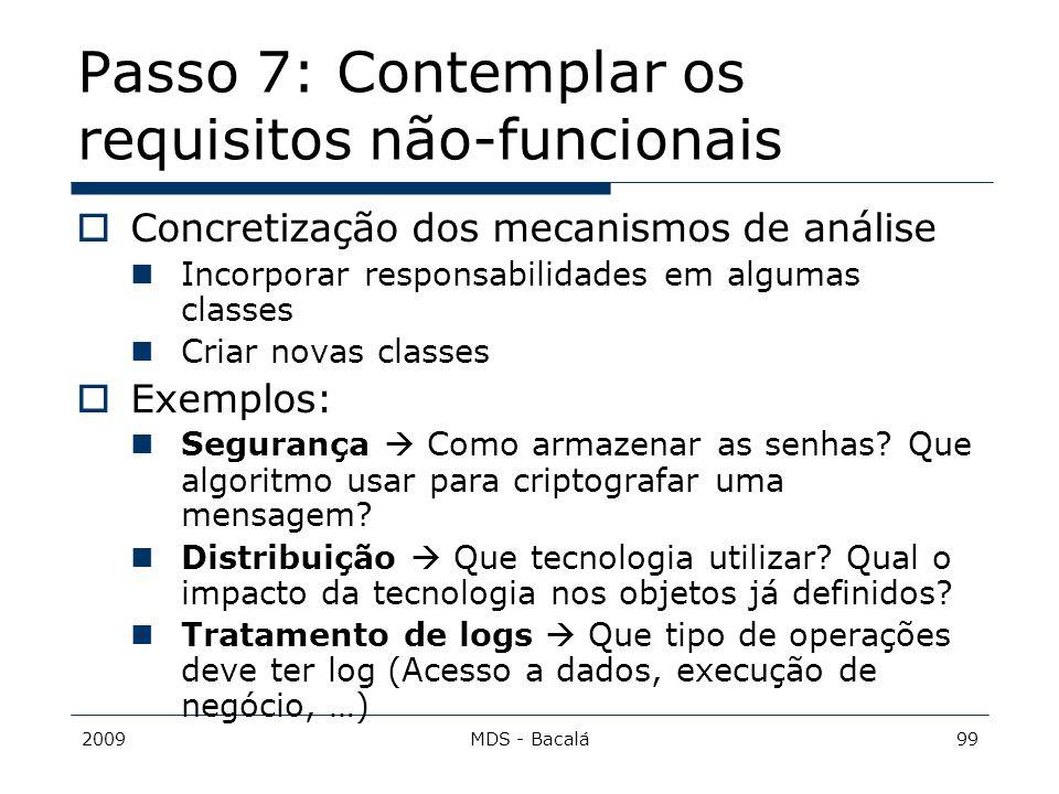 Passo 7: Contemplar os requisitos não-funcionais