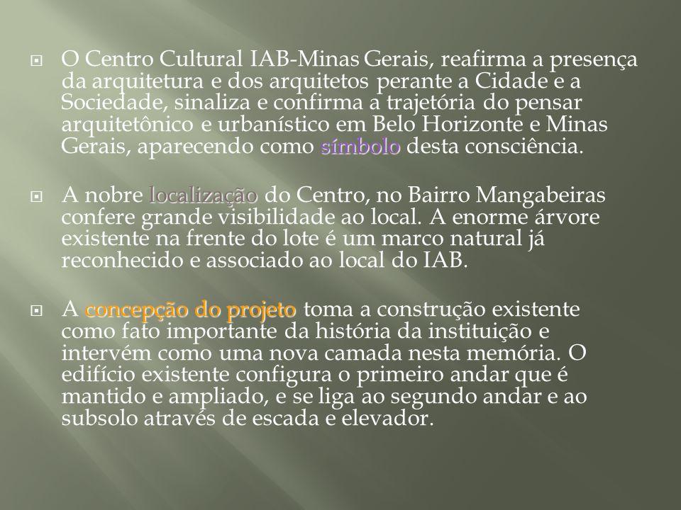 O Centro Cultural IAB-Minas Gerais, reafirma a presença da arquitetura e dos arquitetos perante a Cidade e a Sociedade, sinaliza e confirma a trajetória do pensar arquitetônico e urbanístico em Belo Horizonte e Minas Gerais, aparecendo como símbolo desta consciência.