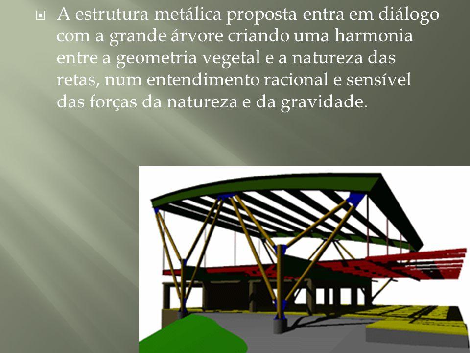 A estrutura metálica proposta entra em diálogo com a grande árvore criando uma harmonia entre a geometria vegetal e a natureza das retas, num entendimento racional e sensível das forças da natureza e da gravidade.
