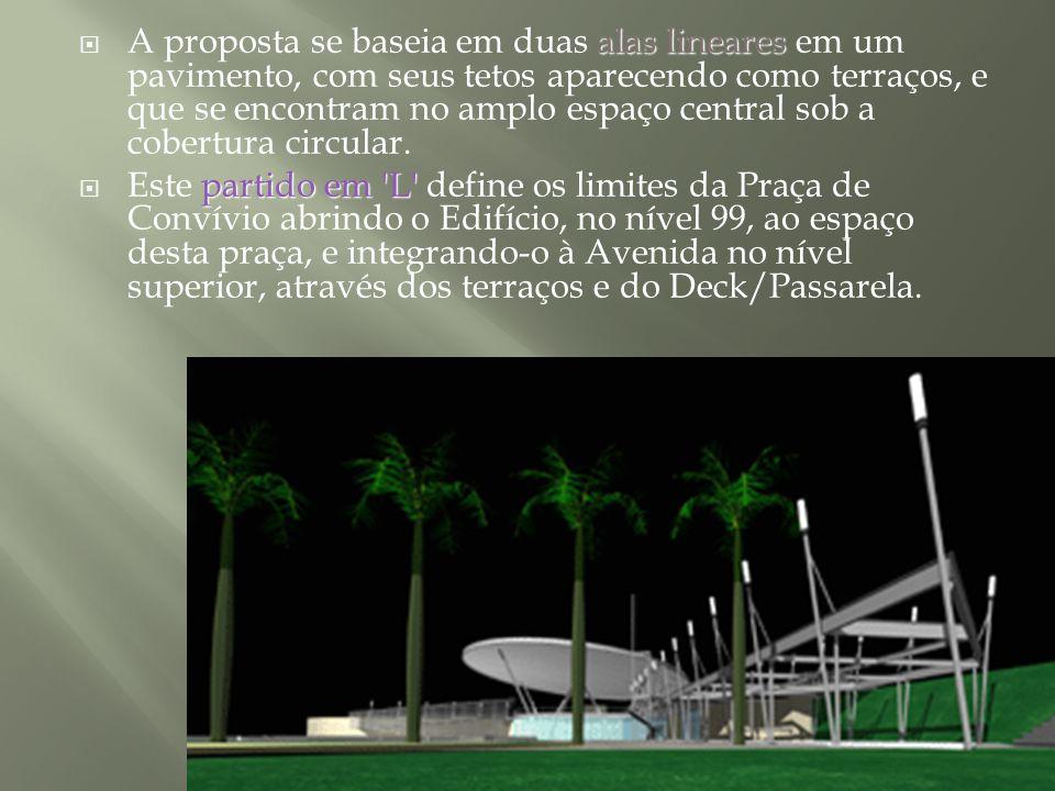 A proposta se baseia em duas alas lineares em um pavimento, com seus tetos aparecendo como terraços, e que se encontram no amplo espaço central sob a cobertura circular.