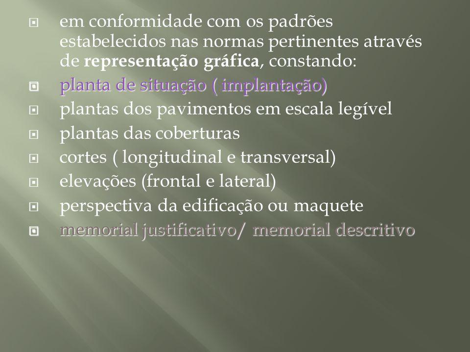 em conformidade com os padrões estabelecidos nas normas pertinentes através de representação gráfica, constando: