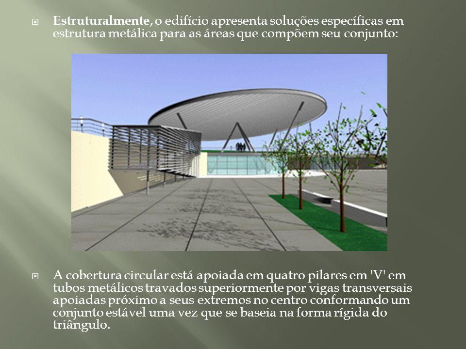 Estruturalmente, o edifício apresenta soluções específicas em estrutura metálica para as áreas que compõem seu conjunto: