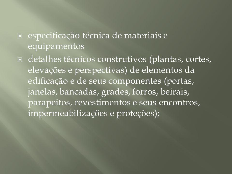 especificação técnica de materiais e equipamentos