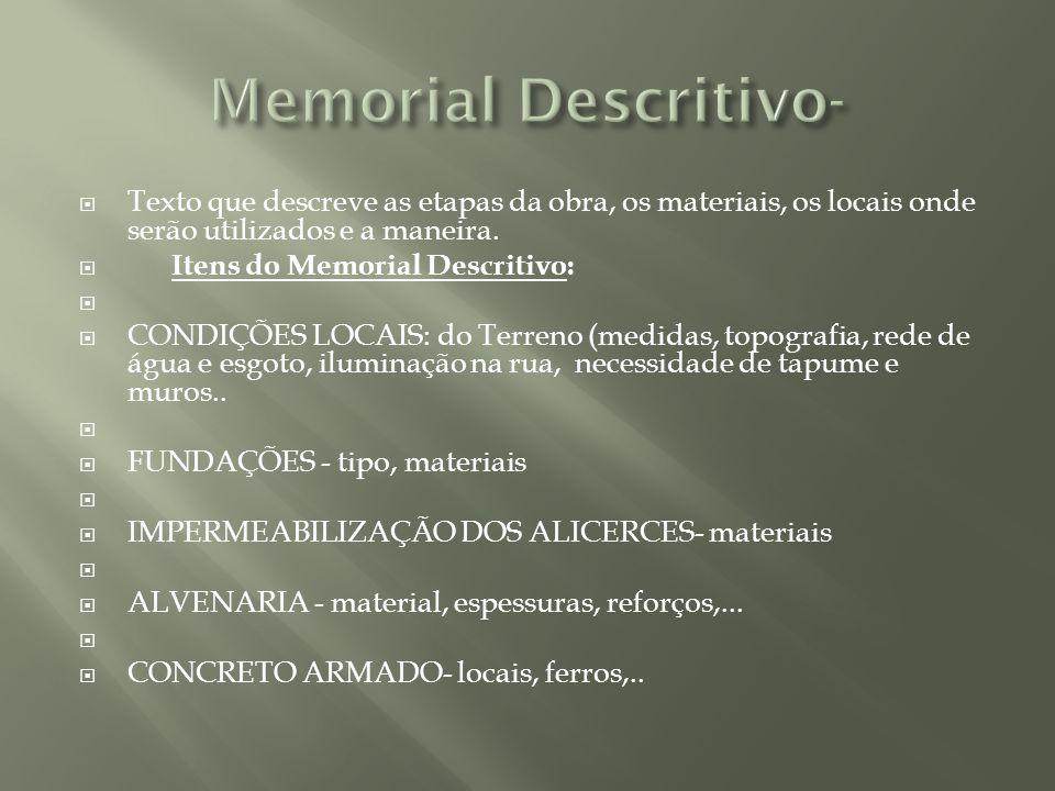 Memorial Descritivo- Texto que descreve as etapas da obra, os materiais, os locais onde serão utilizados e a maneira.