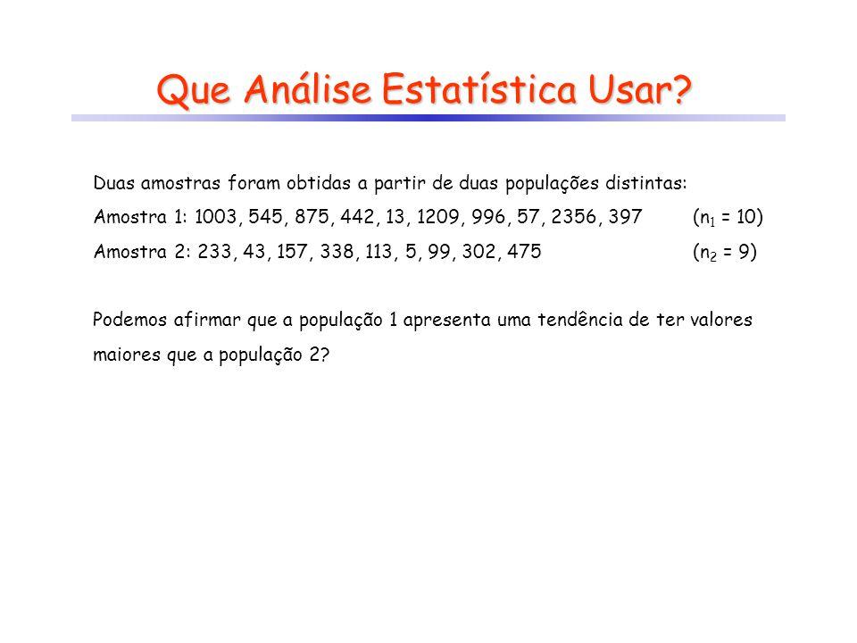 Que Análise Estatística Usar