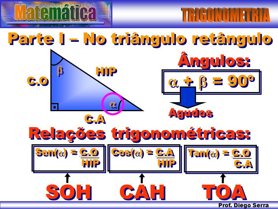 SOH CAH TOA Parte I – No triângulo retângulo Ângulos:  +  = 90º
