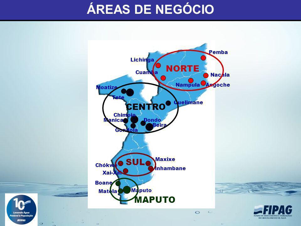 ÁREAS DE NEGÓCIO NORTE CENTRO SUL MAPUTO Pemba Lichinga Cuamba Nacala