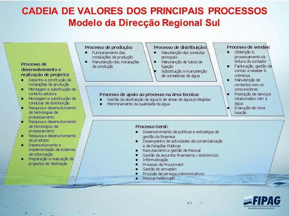 CADEIA DE VALORES DOS PRINCIPAIS PROCESSOS Modelo da Direcção Regional Sul
