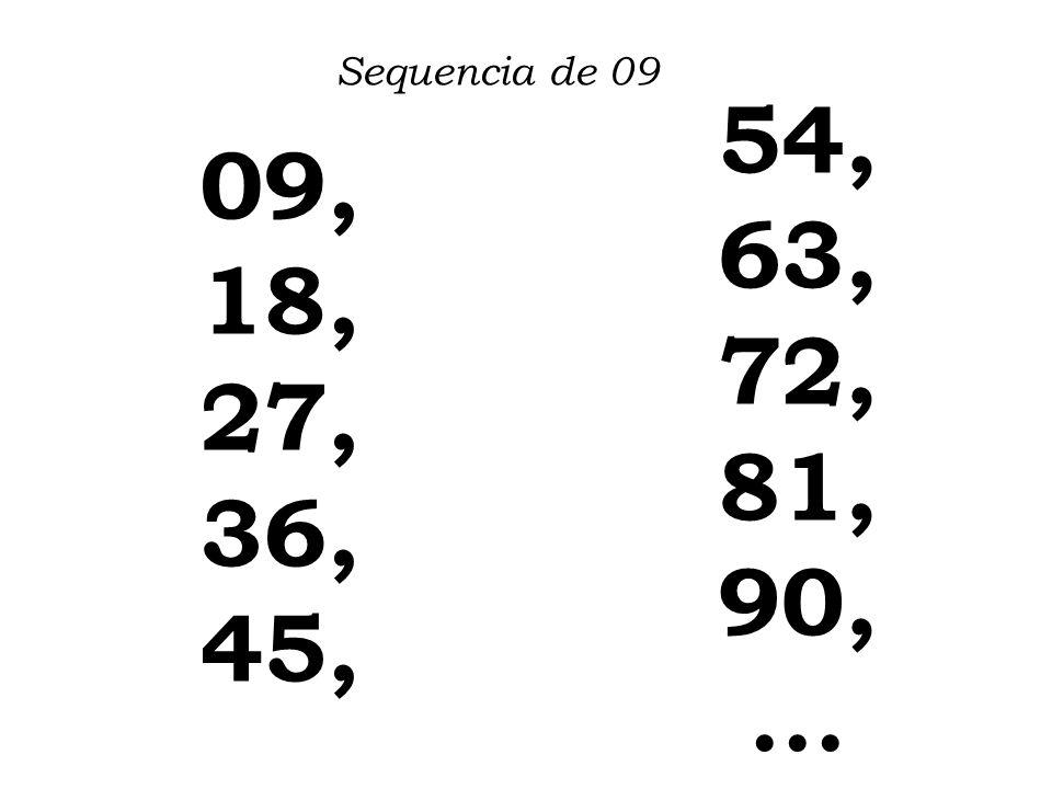 Sequencia de 09 54, 63, 72, 81, 90, ... 09, 18, 27, 36, 45,