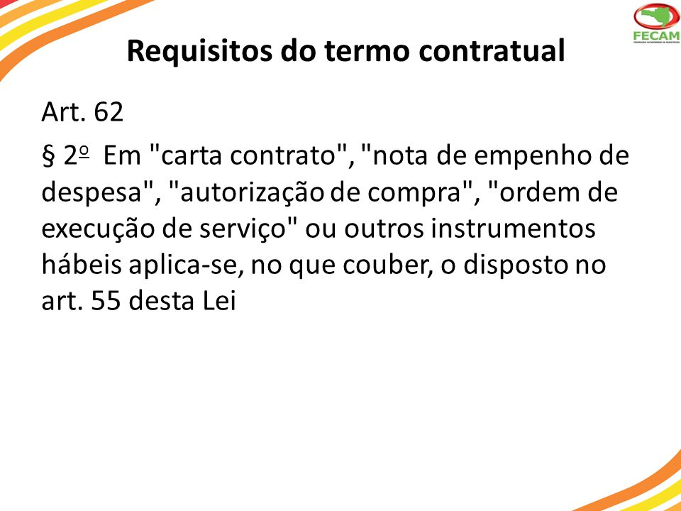 Requisitos do termo contratual