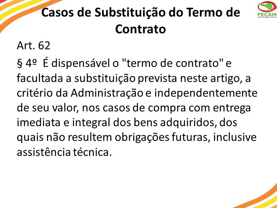 Casos de Substituição do Termo de Contrato