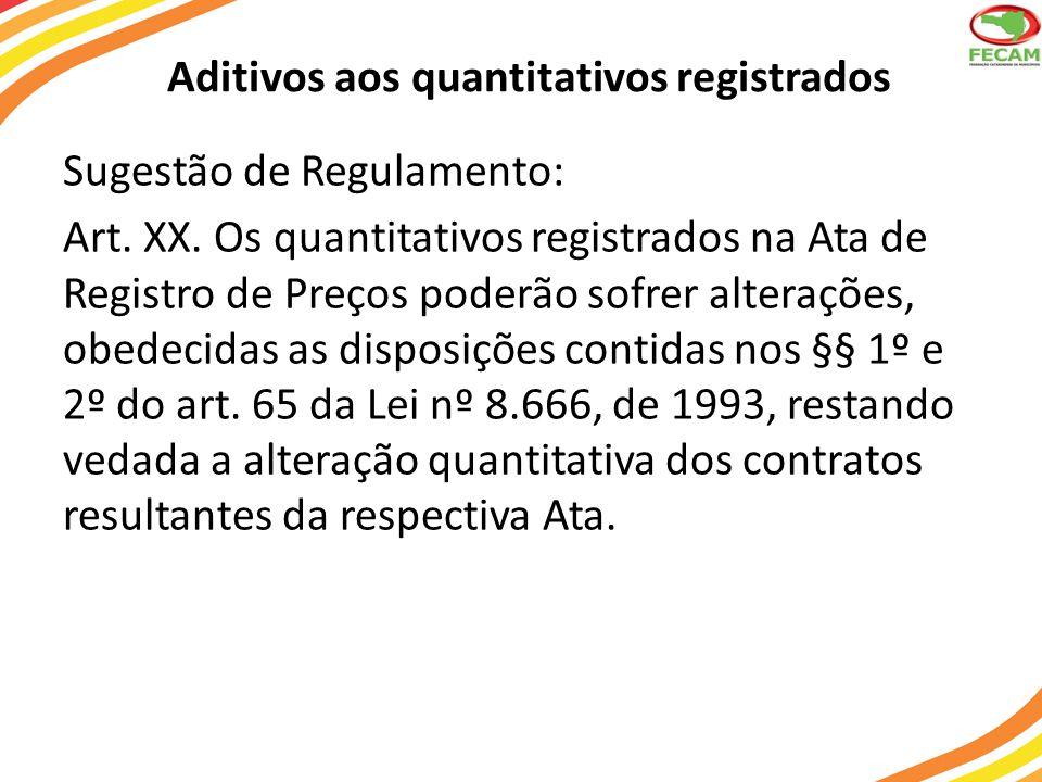 Aditivos aos quantitativos registrados