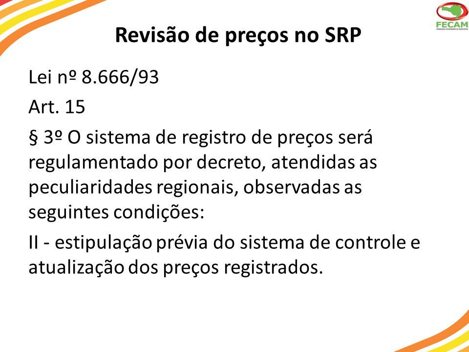 Revisão de preços no SRP