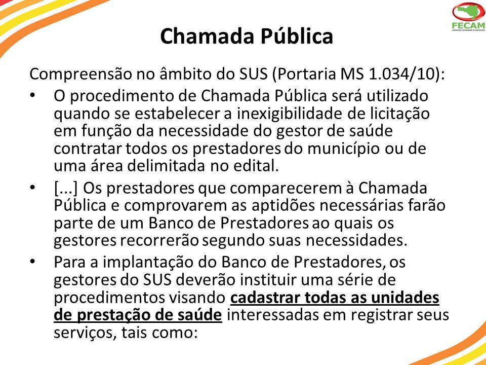 Chamada Pública Compreensão no âmbito do SUS (Portaria MS 1.034/10):