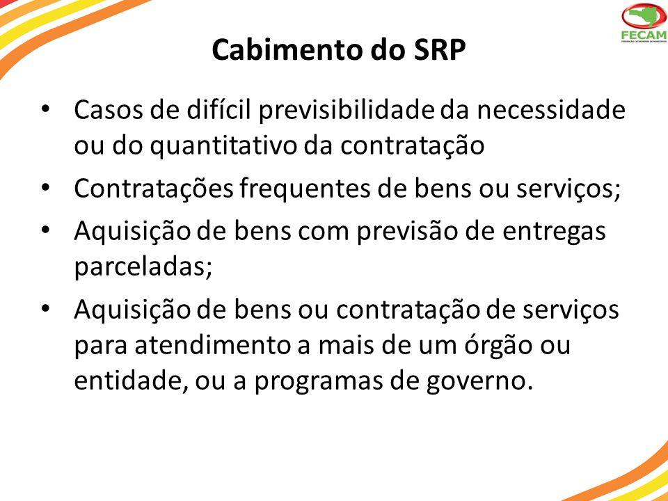 Cabimento do SRP Casos de difícil previsibilidade da necessidade ou do quantitativo da contratação.