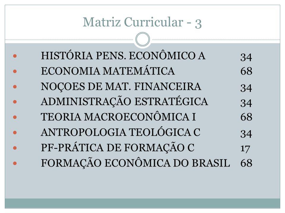 Matriz Curricular - 3 HISTÓRIA PENS. ECONÔMICO A 34