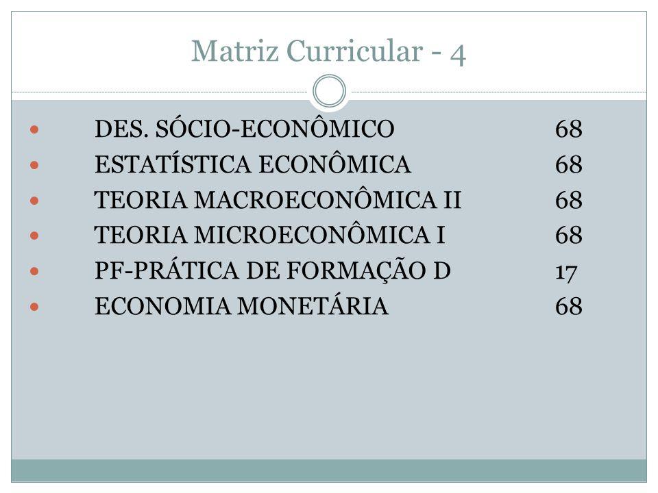 Matriz Curricular - 4 DES. SÓCIO-ECONÔMICO 68 ESTATÍSTICA ECONÔMICA 68